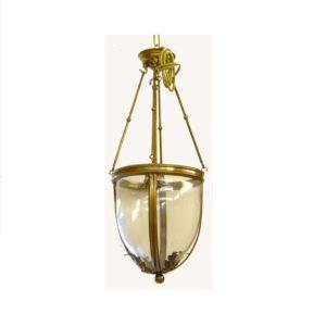lampadario con vetro trasparente e ottone
