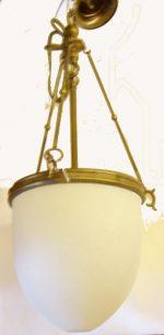 B021 lume in ottone c/vetro tipo scavo 3 luce dia. cm. 23 h. cm. 56