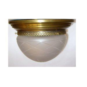 plafoniera tonda grande in ottone e vetro