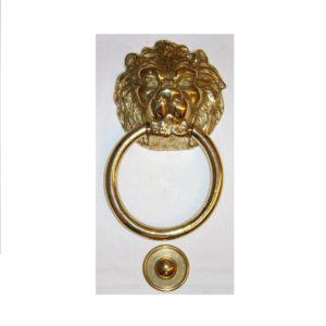 battente testa di leone con grande anello