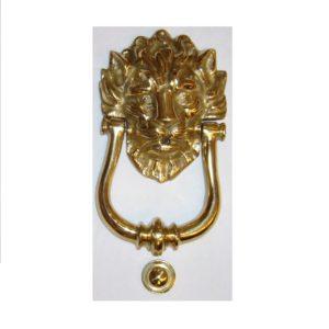 battiporta artigianale con leone in ottone
