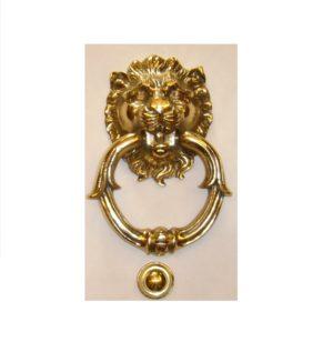 battiporta leone in ottone con anello ornato