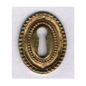 bocchetta ovale grande perlinata in ottone