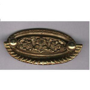 maniglia con placca ovale in ottone
