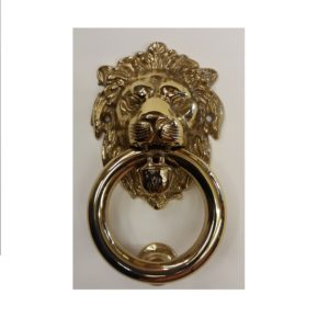 battiporta testa di leone con anello in ottone