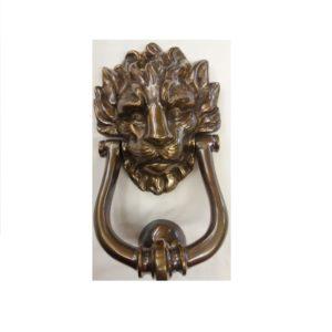 grande battiporta leone in bronzo anticato