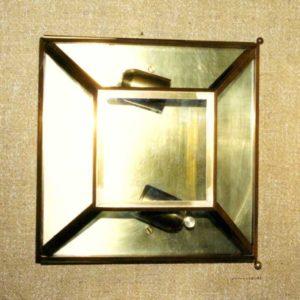 plafoniera grande in ottone e vetro
